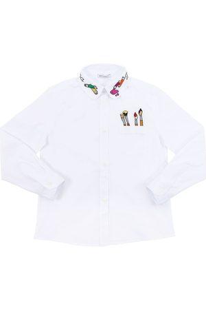 Dolce & Gabbana Meisjes T-shirts - Embroidered Stretch Cotton Poplin Shirt