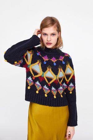 Zara Tricot trui met kleurig borduurwerk