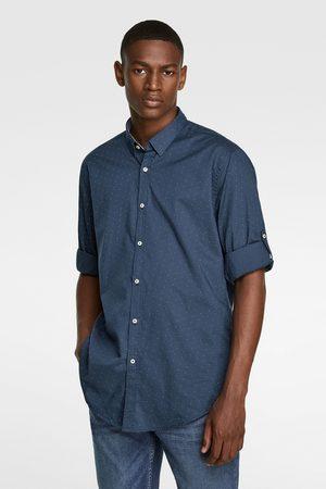 Zara Overhemd met stippenprint en mouwophouders