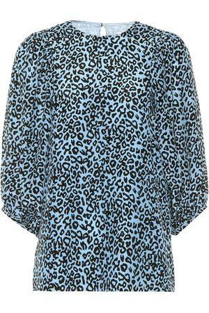 Les Rêveries Leopard-print silk blouse