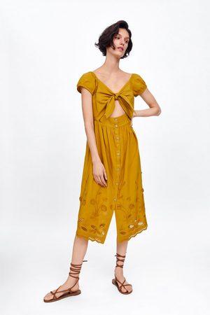 Zara Geborduurde jurk met opening