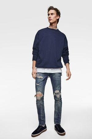 Zara Heren Slim & skinny broeken - Skinny denim broek met bandanapatch