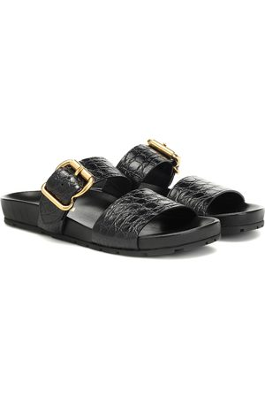 Prada Croc-effect leather slides