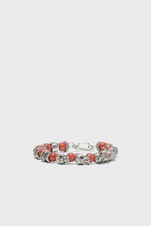Zara Heren Armbanden - Armband met kralen en doodshoofden