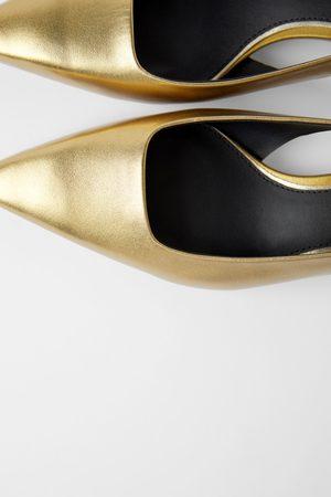 Zara Leren schoenen met halfhoge geometrische hak