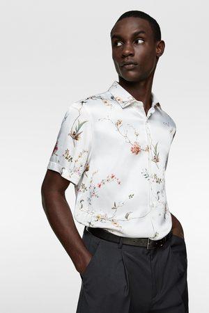 Zara Satijnachtig overhemd met bloemenprint