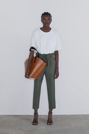 Zara Paper bag broek met ceintuur