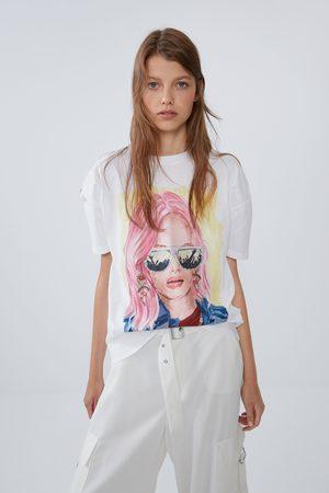 Zara T-shirt met print op het voorpand