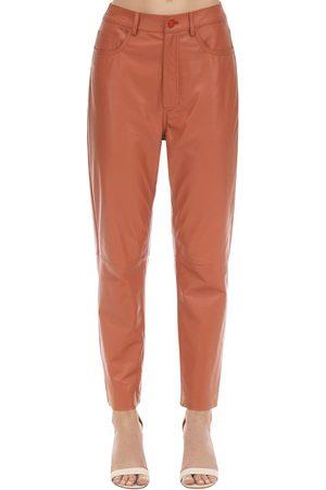 DROME High Waist Straight Leather Pants