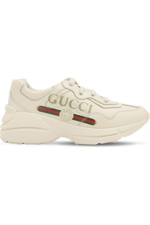 Gucci Logo Print Leather Sneakers