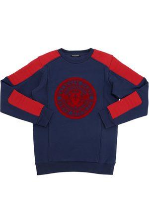 Balmain Flocked Logo Cotton Sweatshirt