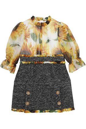 Dolce & Gabbana Meisjes Geprinte jurken - Sunflower Print Organza & Bouclé Dress