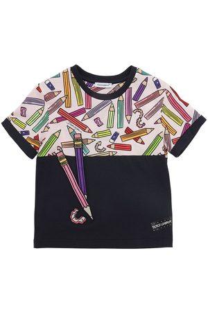 Dolce & Gabbana Meisjes T-shirts - Pencil Print Cotton Jersey T-shirt
