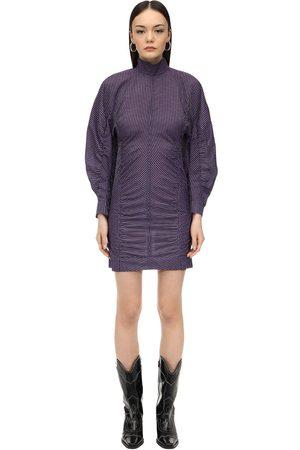 Ganni Draped Cotton Seersucker Mini Dress