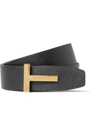 Tom Ford Heren Riemen - 4cm Black And Dark- Reversible Full-grain Leather Belt