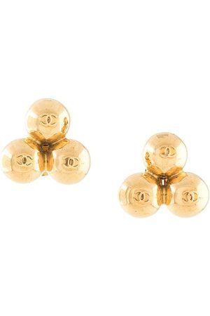CHANEL Logo three-spheres clip-on earrings