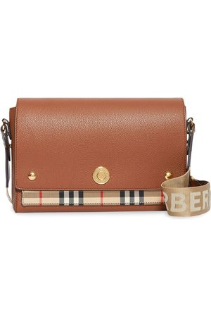 Burberry Dames Schoudertassen - Leather and Vintage Check Note Crossbody Bag