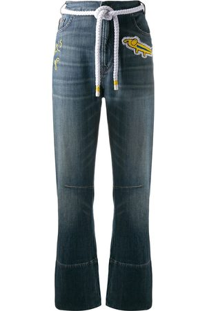 MIRA MIKATI Embroidered patch jeans