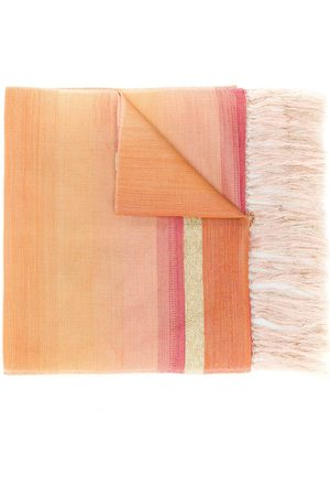 Issey Miyake 1990's fringed striped scarf
