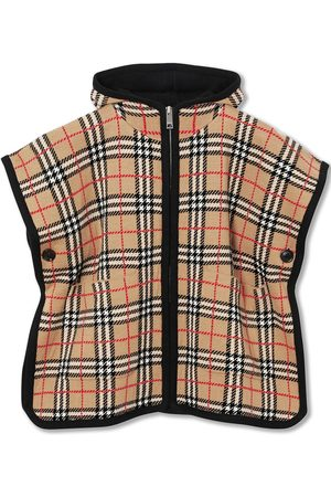 Burberry Check Merino Wool Jacquard Hooded Poncho