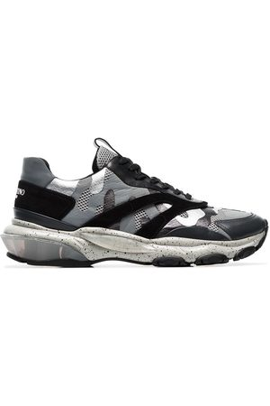 VALENTINO Grey Bounce camo print leather sneakers
