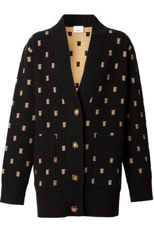 Burberry Monogram Wool Cashmere Blend Oversized Cardigan