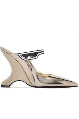 Prada Gold tone Madge 110 wedge mules