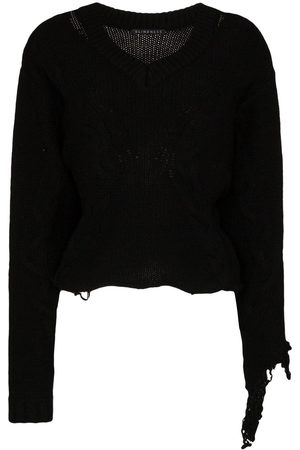 Blindness Distressed V-neck wool jumper