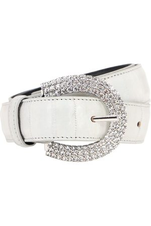 Alessandra Rich 30mm Embossed Leather & Crystal Belt