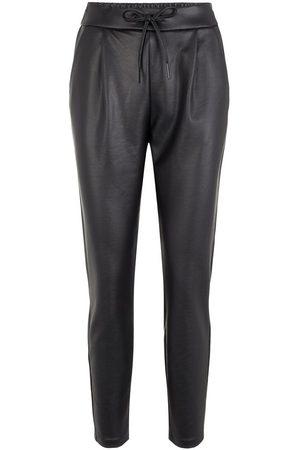Vero Moda Coated Trousers Dames Zwart