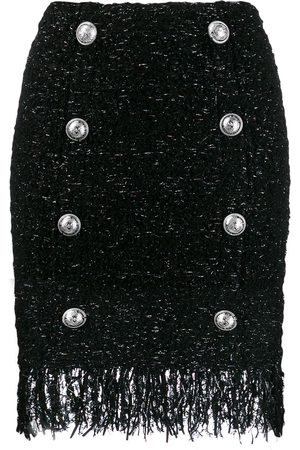Balmain Fringed tweed skirt