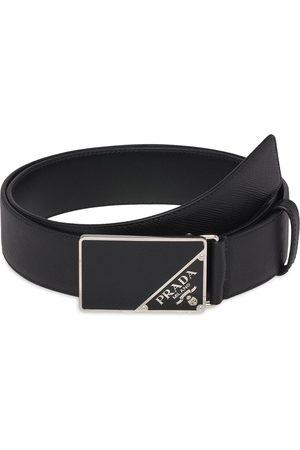Prada Saffiano logo buckle belt