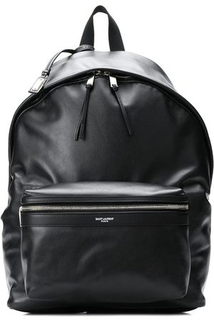 Saint Laurent Leather look logo backpack