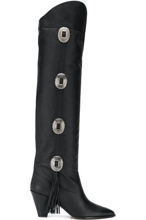 Aquazzura Go West 70 knee-high studded leather boots