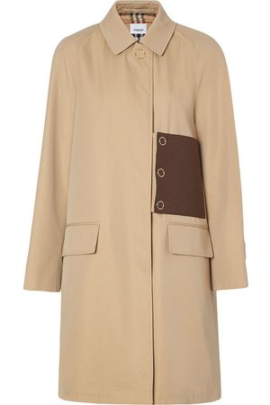 Burberry Monogram leather detail gabardine car coat