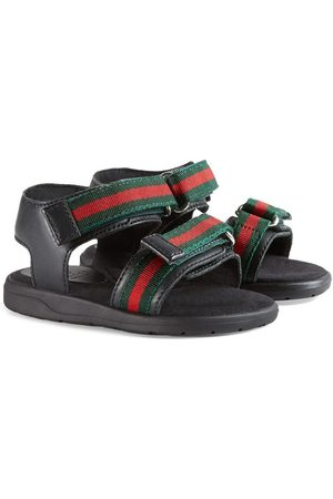 Gucci Toddler leather sandal with Web straps