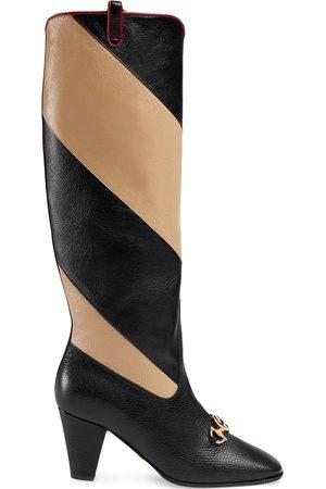 Gucci Dames Hoge laarzen - Zummi GG Horsebit striped knee-high boots