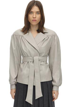LESYANEBO Ruffled Faux Leather Jacket W/ Belt