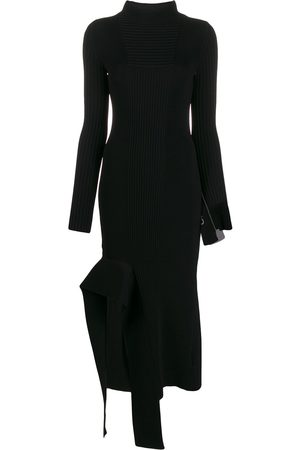 OFF-WHITE Asymmetric turtleneck knitted dress