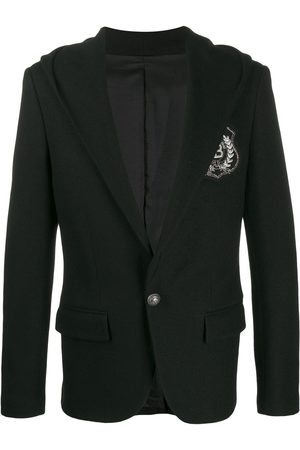Balmain Hooded logo patch blazer