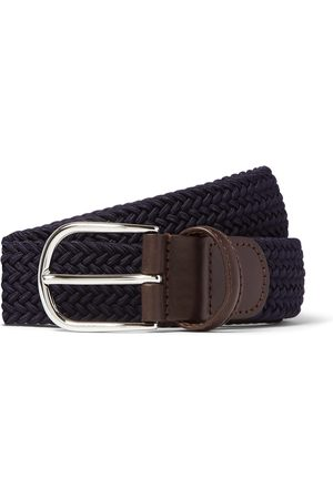 Anderson's Heren Riemen - 3.5cm Green Leather-trimmed Woven Elastic Belt