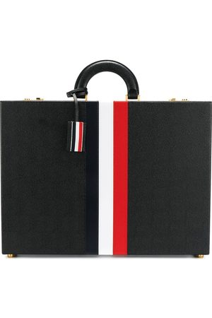 Thom Browne Heren Laptop- & Businesstassen - Attache Case With Red, White And Blue Calf Stripe In Pebble Grain