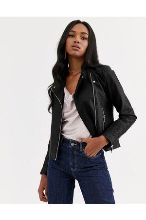 Vero Moda Faux leather biker jacket-Black