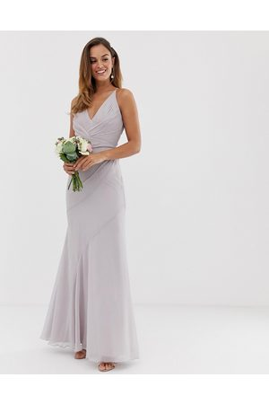 ASOS Bridesmaid maxi dress with pleated cami bodice and fishtail skirt-Pink