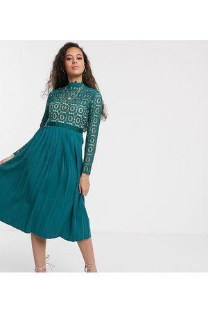 Little Mistress Midi length 3/4 sleeve lace dress in kingfisher-Blue