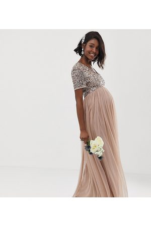 Maya Bridesmaid v neck maxi tulle dress with tonal delicate sequins in taupe blush-Brown