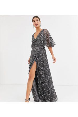 Maya Bridesmaid delicate sequin wrap maxi dress in dark grey