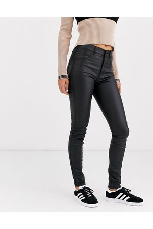 Dr Denim Solitaire super high waist leather look super skinny jean-Black