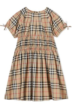 Burberry Ruched Panel Vintage Check Cotton Dress