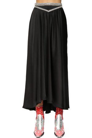 Paco rabanne Dames Midi rokken - Satin Midi Skirt W/ Crystals